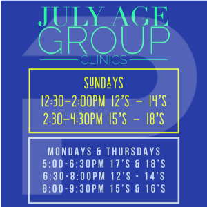 July Age Group Clinics